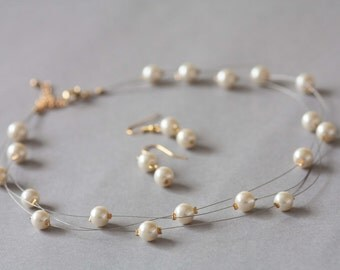 Bridal illusion necklace and earrings set in cream, Bridal jewellery set faux pearl, illusion jewellery set, wedding jewellery