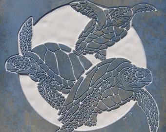 Green Sea Turtle Tile - 18x18 Etched Porcelain  - SRA