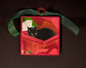 Black Cat Christmas Ornaments, Black Cat in A Box, Handmade, Wood Ornament, Stocking Stuffer, Coworker Gift