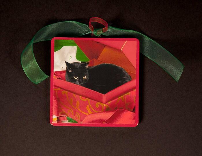 Black Cat Christmas Ornaments Wood Ornament Black Cat In A