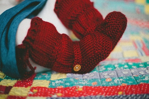 """The Original """"BootLeggers"""" Knitted Cherry Ruched Baby Boots/Legwarmers Combination"""
