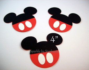 "Mickey Mouse Head with Red Pants Die Cuts - 4"" - Set of 12+ - Other characters & sizes available"