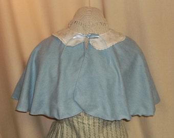 Light Blue Capelet- Suede Costume Cape