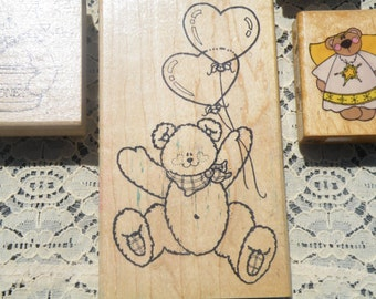 50% off this item, enter LOVE99 at checkout, Lot of Teddy Bear Mounted Rubber Stamps, Set of 6, Rubber Stamp, Scrapbooking Supplies, Supply