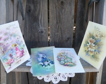 50% off this item, enter LOVE99 at checkout, V i n t a g e Set of 4, Greeting Cards, Variety, Ephemera, Birthday Card, Greeting