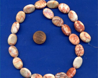15 Inch Strand of Redline Marble, Oval Beads, 18mmx13mm
