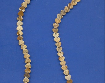 """16"""" strand of 6-7mm heart shaped beads, Picture Jasper"""
