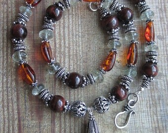 Harvest Melange -- Green Amethyst -Baltic Amber -Red Tiger Eye -Silver bali Necklace