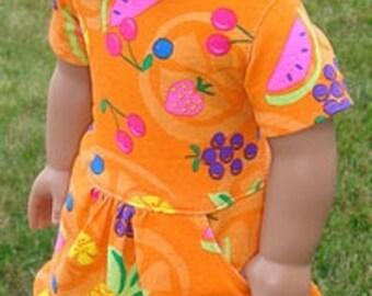 Bright Orange Fruit Print Drop Waist T-Shirt Dress For American Girl Or Similar 18-Inch Dolls