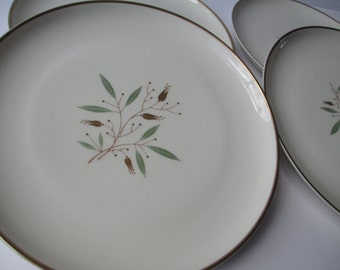 Vintage Salad Plates Syracuse China Elegance Gold Green Floral Set of Four