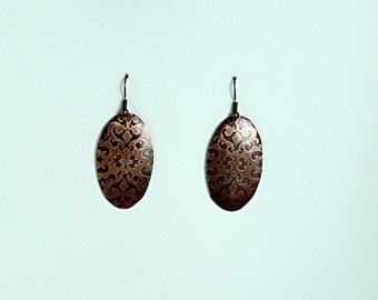 Victorian Copper Etched Earrings