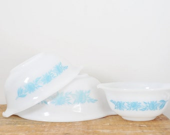 Vintage Glasbake White and Blue Flower Cinderella Mixing Bowl Set of 3