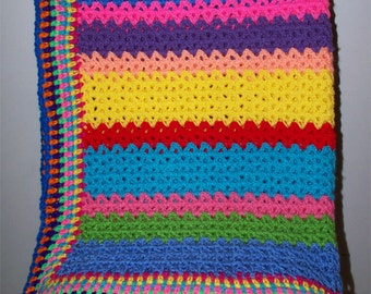 Children's Rainbow Afghan, Crochet Blanket, Blue, Green, Pink, Yellow, Red, Peach, Purple, Orange, Turquoise