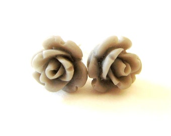 Gray Rose Earrings- Surgical Steel or Titanium Post Earrings- 9mmBlack Friday Sale 20% Off
