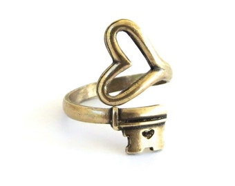 Skeleton Heart Key Ring- Key To My Heart Ring- Adjustable Ring- Antiqued Brass Ox Finish