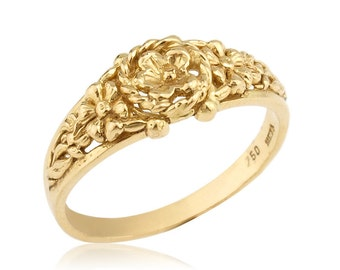 14k Gold Floral Centerpiece and Engraved Wedding Band