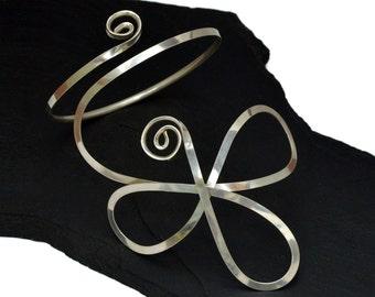 Made to Order Flower Arm Band, Sterling Silver Armlet, Bridal Arm Cuff, Upper Arm Bracelet, Wedding Armlet, Boho Arm Bangle, Upper Cuff