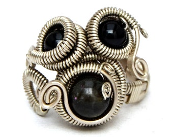 Black Gothic Ring, Wire Wrap Ring, Steampunk Ring, Multistone Ring, Silver Wire Ring, Gemstone Ring, Rocker Ring, Cocktail Ring