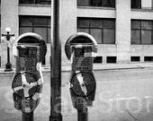 Parking Meters, St Paul, Minnesota photo, black and white, wall art, home decor, office art, corporate art