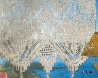 Crochet Lace Curtain/Valance - Roses