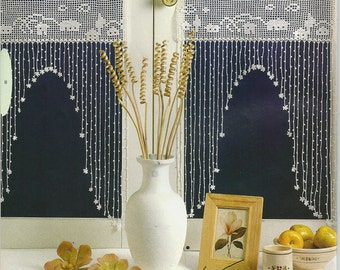 Crochet Lace Curtain/Valance set - Back to Time