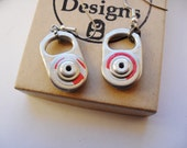 Silver and Red Recycled Coca Cola Can Ring Pull Dangle Earrings
