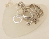 White Elephant Necklace -Elephant Seaglass Pendant Locket seaglass Jewelry Beach Glass Jewelry Handmade Custom Jewelry