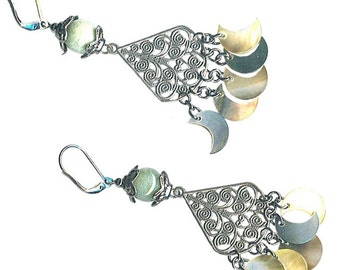 blacklip mother-of-pearl moon dangles pewter filigree earrings gemstone