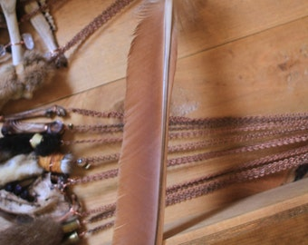 Amazing Rust Red Peafowl Feather with Crystal Fox Fur Accent - Incense/Smoke Director for Rituals