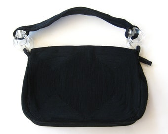 Vintage 40s Black Corde Hollywood Starlet Clutch Purse Evening Bag with Lucite