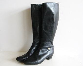 Vintage Salvatore Ferragamo Tall Black Leather Zip Up Boots Womens size 8 AAA