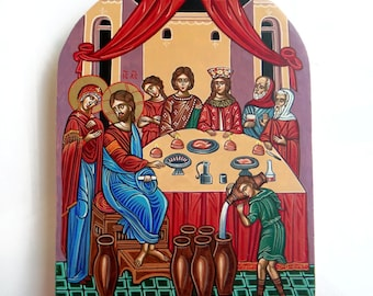 Wedding at Cana, Jesus at the Wedding Feast at Cana -  handpainted orthodox icon