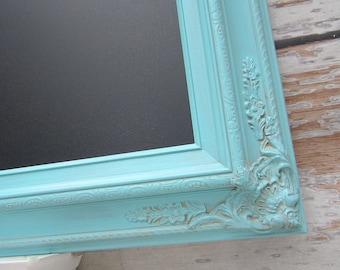 "SHABBY CHIC WEDDING Decor Chalkboard X Large Framed Wedding Black board Turquiose Wedding Robins Egg Blue 44""x32"" Shabby Chic Kitchen Decor"