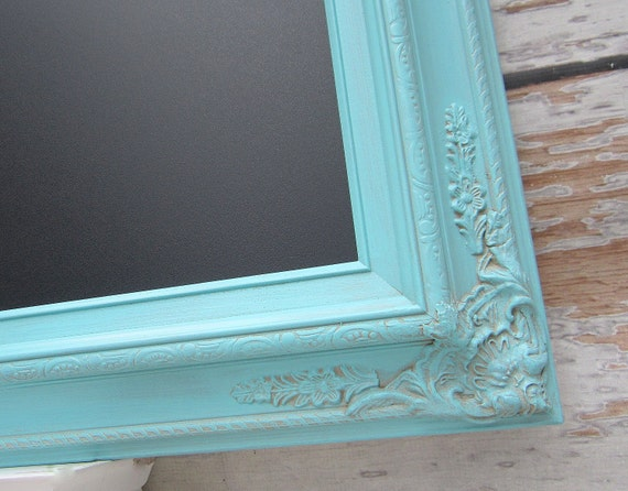 "SHABBY CHIC WEDDING Decor Chalkboard X Large Framed Wedding Black board Turquiose Wedding Robins Egg Blue 44""x32"" Shabby Chic Kitchen Decor"