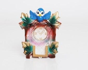 Vintage 50s 60s Ceramic Blue Bird Cuckoo Clock Wall Pocket