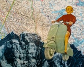 See the World on a Vespa - Original Collage