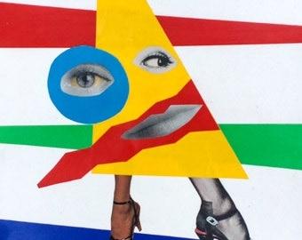 Follow the Rainbow Road - Original Collage Rainbow Abstract