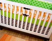 Crib Bedding, Orange Deer Cribset, Orange Lime Brown Baby Bedding