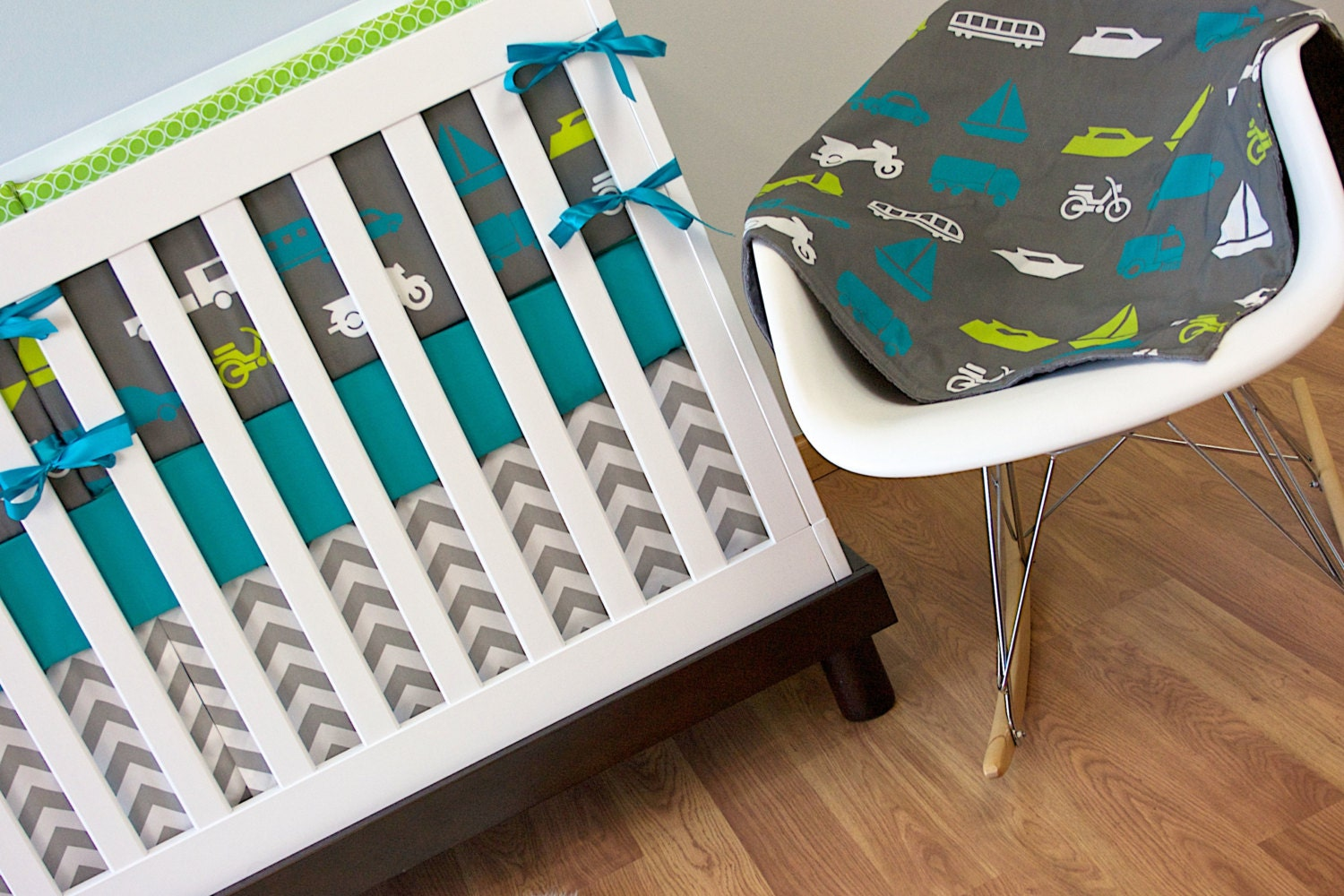 Crib Bedding Baby Bedding Turquoise And Lime Transportation