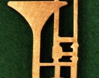 Wood Trombone Ornament