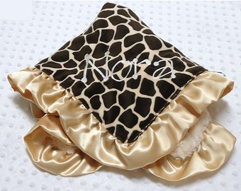 Personalized Ruffled Giraffe Print and Cuddle Rose Minky Blanket 18 x 22 Lovey Size