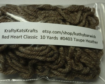 10 Yards Red Heart Super Saver Yarn #0403 Taupe Heather