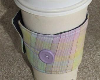 Metallic Plaid Sleeve Cup Cozy