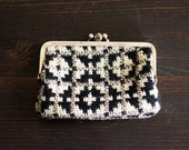 Black, Gray and White Woven Coin Purse