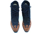 Vintage Newport News Navy Blue/Brown Suede Lace Up Ankle Boots Sz 6