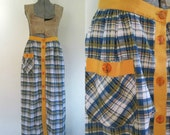 Plaid Seersucker Maxi Skirt Vintage 1960s Button Front Boho Preppy