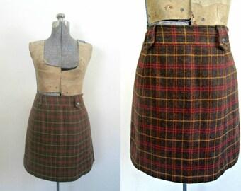 Vintage Wool Tweed Mini Skirt Harolds Size 12 Office Preppy
