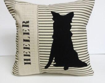 Heeler Felt Silhouette Pillow, Australian Cattle Dog Silhouette Pillow, ACD Felt Pillow, Queensland Silhouette Pillow, Heeler Pillow, Dog