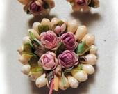 Pink Rose Vintage Brooch & Earrings Victorian Style Shell Vintage Jewelry Set