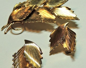 Leaf Brooch Pin Earrings Vintage Jewelry Set